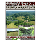 ABSOLUTE ONLINE AUCTION: BUILDINGS & 144 Ac IN 3 TRACTS