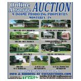 ABSOLUTE ONLINE AUCTION: 9 INCOME PRODUCING PROPERTIES IN MONTEREY, TN