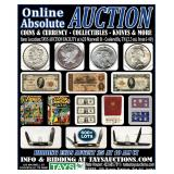 ONLINE ABSOLUTE AUCTION: COINS & CURRENCY - COLLECTIBLES - KNIVES