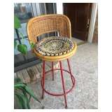 Cute little rattan and red metal stool