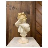 P20--marble statue, crying child with broken dish