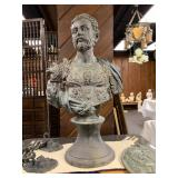 """P35--copy of """"Cosimo I"""" by Cellini, 19th C, patinated spelter, over 3"""