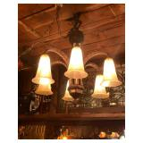 M0398--French Deco light fixture with ostrich feather motif--$1500