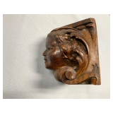 P13--small carved face, was part of a piece of furniture, prob 19th C, oak, looks English