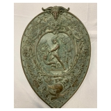 """P36--antique copper shield, Perseus and Medusa, approx 20"""""""