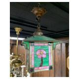 slag glass light fixture with a single bulb, pink and green--$400