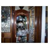 one of 2 century curio cabinets