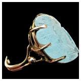 Antique estate 14k Carved pale Aquamarine ring GC2A
