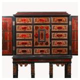 Lot 5243935: Dutch Baroque Inlaid Ebony Cabinet on Stand, 17th Century