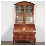 Lot 5243938: European Rococo Inlaid Wood Two Part Secretary Book Case, 18th Century