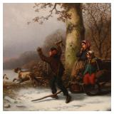 "Lot 5244655: William T. Ranney (American 1813-1857), ""The Chase is On!"", Oil on Canvas"
