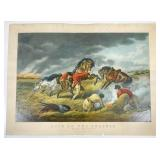 Currier and Ives (Publisher): Life on the Prairie. The Trappers Defence - Fire Fight Fire, 1862