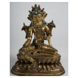A Tibetan Gilt Bronze Seated Bodhisattva, 18th Century