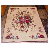 "Floral Hand Hooked Rug 66"" x 34"""
