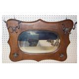 Oak mirror w/hooks