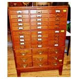 39 Drawer Oak 3 Section File Cabinet