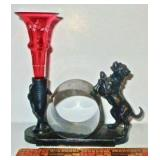 Figural Dog Napkin Ring w/ Small Vase