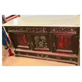 Walnut Marble Top Sideboard