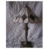 SLAG GLASS LAMP W/ CAST BASE