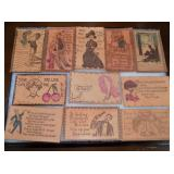 SEVERAL EMB LEATHER POST CARDS