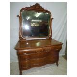 LARGE OAK DRESSER W/ MIRROR