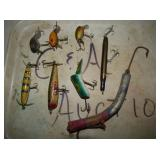 VARIOUS WOODEN & GLASS EYED LURES