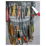 FISHING LURES DISPLAY W/ LURES