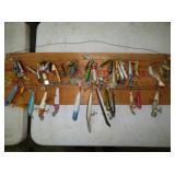 GROUP OF LURES ON DISPLAY BOARD
