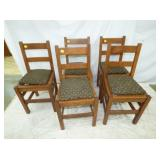 5 MATCHING MISSION OAK CHAIRS