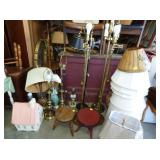 BRASS FLOOR LAMPS/TABLE LANPS/ETC.