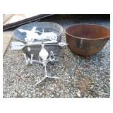 CAAST IRON POT/WEATHERVANE/TUB