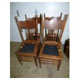 4 MATCHIN PRESSED BACK CHAIRS