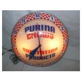 ORG. 15IN. PURINA DOUBLE BUBBLE CLOCK