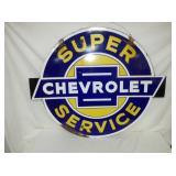 RARE 41X49 PORC CHEVROLET SERVICE SIGN