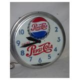 RARE 20IN ANIMATED PEPSI COLA NEON CLOCK