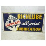 30X70 EMB RICHLUBE LUBRICANT SIGN