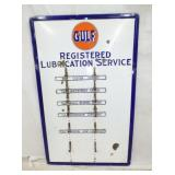 RARE 32X50 PORC. GULF LUBRICATION DISPLAY