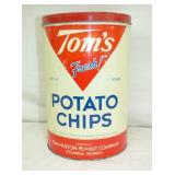 7X11 HARD TO FIND 1LB. TOMS CHIPS TIN