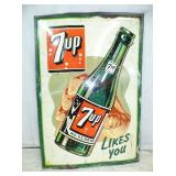 27X40 1949 EMB. 7UP SIGN W/ BOTTLE