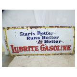 42X96 PORC LUBRITE GASOLINE SIGN
