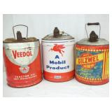 VEEDOL,MOBIL,OILZELL 5G. CANS