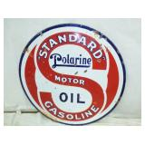 30IN PORC. POLARINE STANDARD OIL SIGN