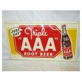 33X57 EMB. TRIPLE A ROOTBEER SIGN