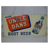 14X17 EMB. UNCLE DANS ROOTBEER SIGN