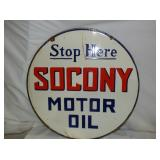 24IN PORC. SOCONY MOTOR OIL SIGN