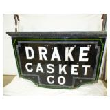 RARE 48X58 DRAKE CASKET CO. SIGN