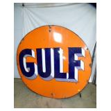 RARE SIZE 5 1/2FT. PORC. GULF SIGN