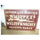 24X35 PORC. WHIPPET WILLYS KNIGHT SIGN