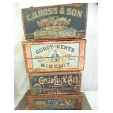 GROUP SHOT EARLY WOODEN BISCUIT BOXES