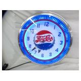 PEPSI COLA SPINNER NEON CLOCK